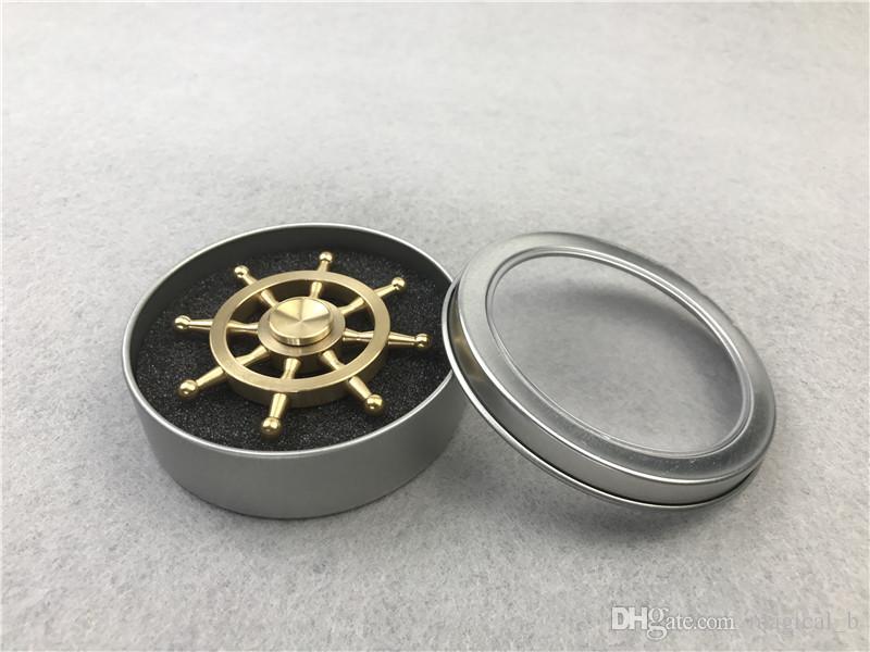 gouvernail en métal Fidget Spinner Laiton usiné spinner EDS Anti-stress 3min Spinning Metal Spinners Fidget Spinner Décompression Nouveauté