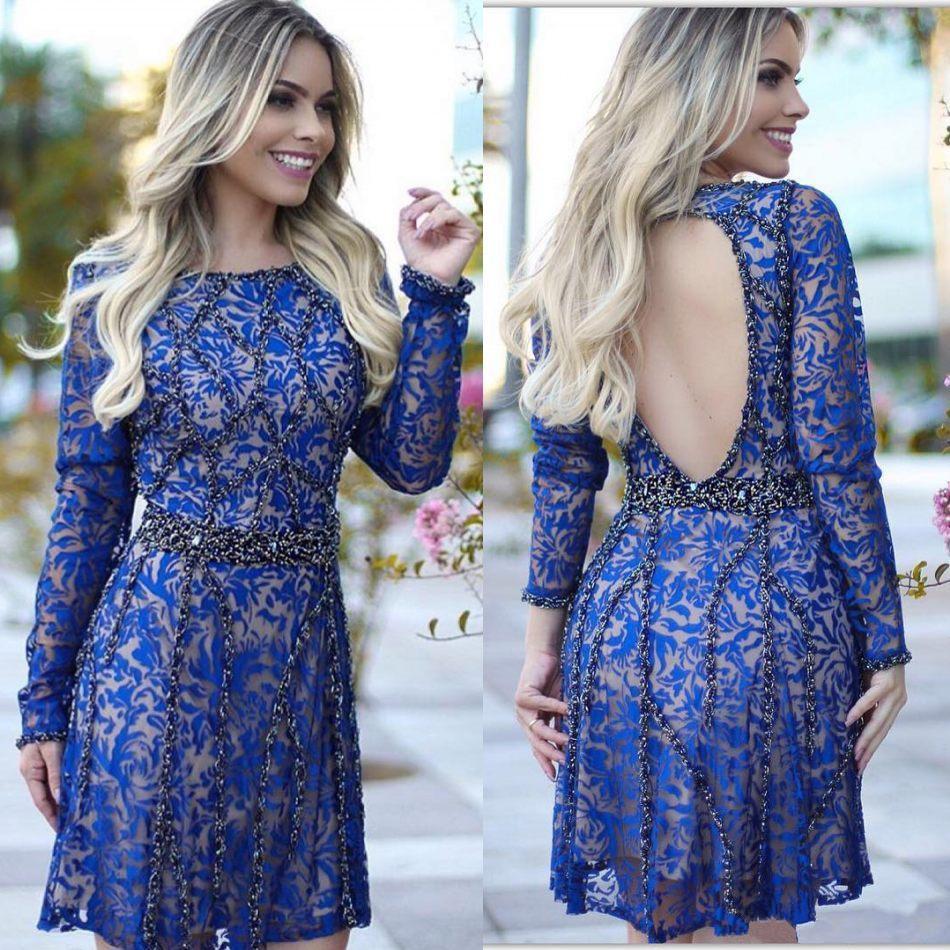 2018 New Royal Blue Lace Backless Homecoming Dresses Sweet 16 Saudi ...