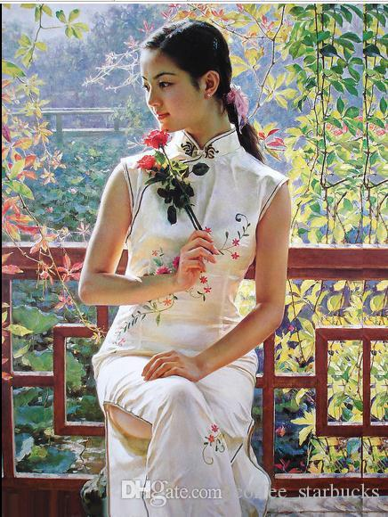 Classical chinese character pretty flower girlhand painted portrait classical chinese character pretty flower girlhand painted portrait art oil painting on canvas for wall decor in any size customized pure hand painted art mightylinksfo