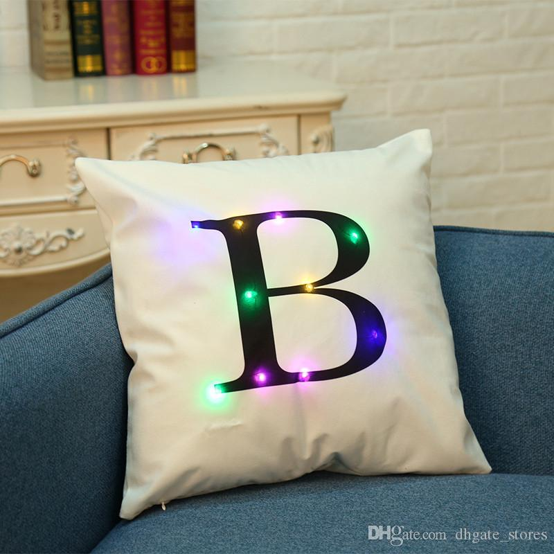 LED Pillow Case Cushion Covers Flash Letter lights Boster Cases square pillowslip Sofa Throw Pillowcase Home Decorations for Christmas