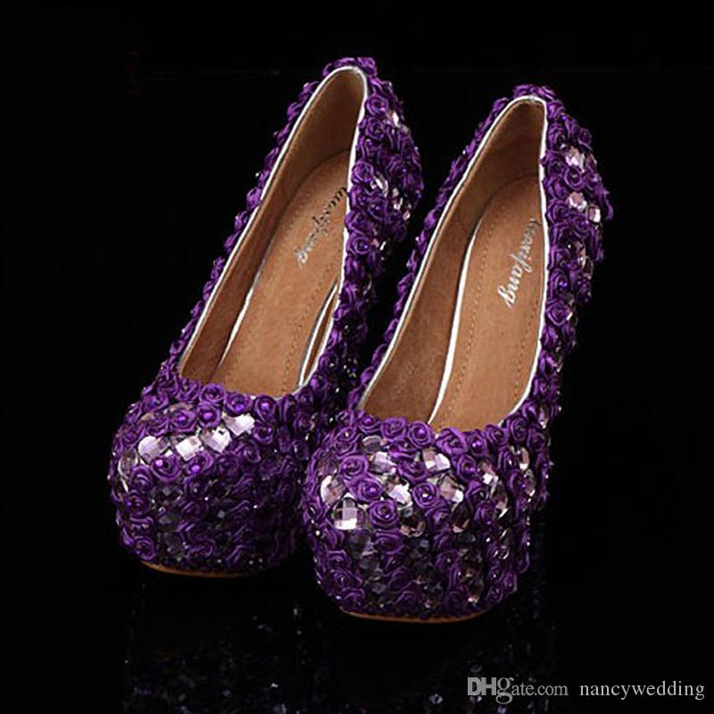 Newest Purple Prom Heels Woman's Pumps Anniversary Party Prom Dress Shoe Rhinestone Bridal Wedding Shoes Mother Bride Shoes