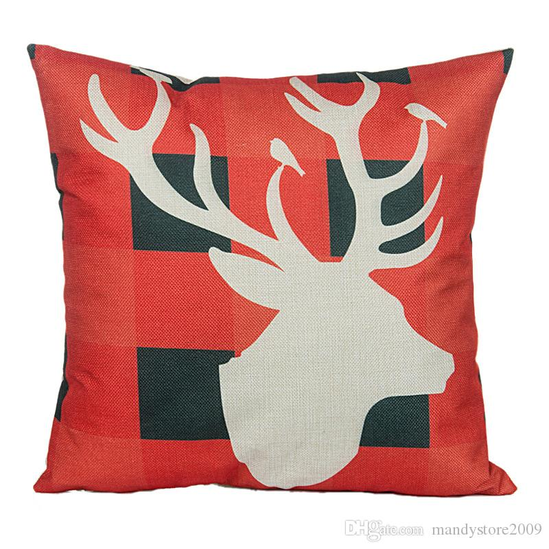 5 Styles Vintage Christmas Santa Claus Linen Cotton Blend Pillowcase Reindeer Sofa Pillow Covers Home Car Bed Office Chair Xmas Pillowcase