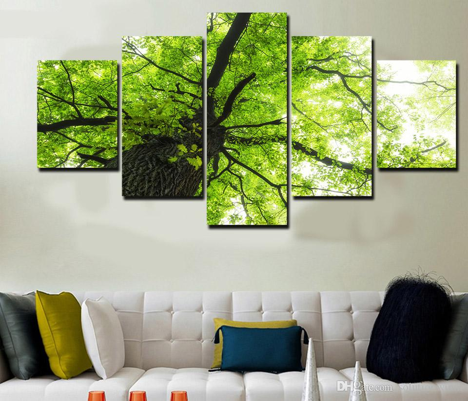 5 Panel HD Printed tree branch green leaves Painting Canvas Print room decor print poster picture canvas wall pictures