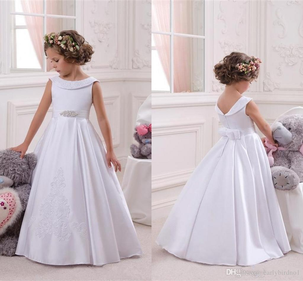 e49346ffd45 New Beautiful White Flower Girl Dresses For Wedding 2018 Jewel Neck With  Crystal Beads Princess Long Girl Communion Gowns Party Wear BA6818 Tulle  Flower ...