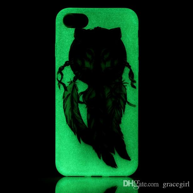Luminous Soft TPU Case For Iphone 7 7 Plus I7 Iphone7 Flower Glow In Dark Skull Party Love Piano Anchor Eiffel Tower Dreamcatcher Skin Cover