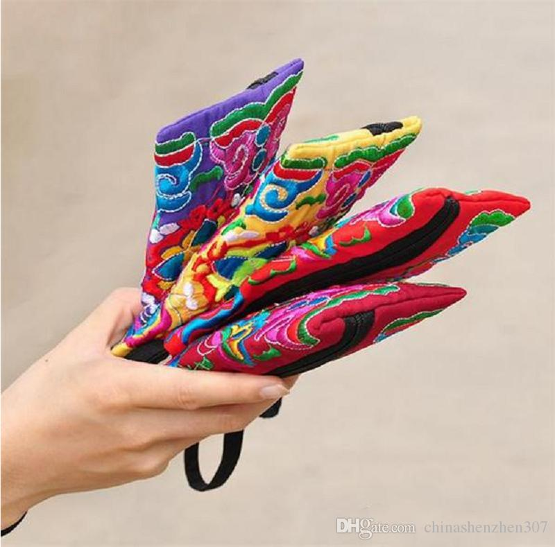 . Nationalen Stil Frauen Handtasche Kontrastfarbe Stickerei Handtasche Handschlaufe Elegante Kleine Mini Handytasche Brieftasche Einzigartiges Design