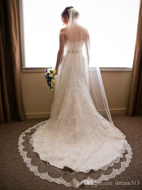 Hot Amazing Best Selling Cheap Romantic One Layer White Ivory Chapel Lace Applique veil Wedding veil For Wedding Dresses
