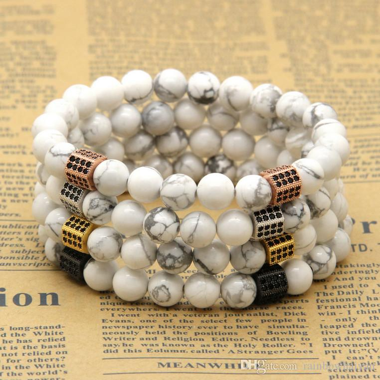 Wholesale 10pcs/lot 8mm Natural White Howlite Marble Stone Beads with  Rectangle Micro Paved Black Zircon CZ Beads Bracelet