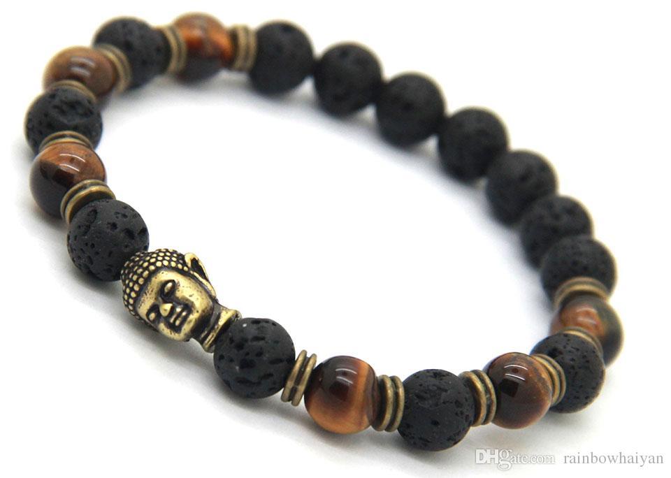 Hot sale Lava Stone beads Buddha Men Bracelets, Gold,Sliver And Bronez Buddha, Black Yoga bracelet,Unisex