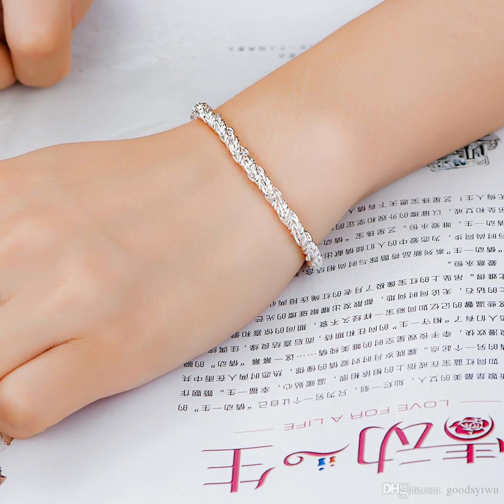 New Fashion Ladies 925 Silver Chain bracelet Shining twisted Chain Bracelet For Women good Xmas gift H511