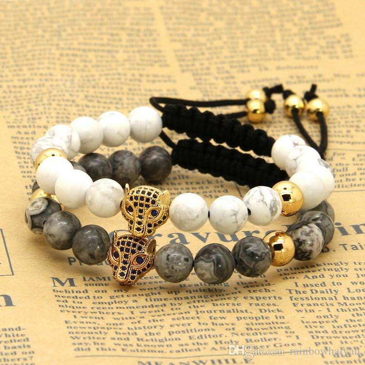 New Hot Sale 8mm Natural Stone Beads Micro Paved Blue Zircons Leopard Macrame Cz Bracelets