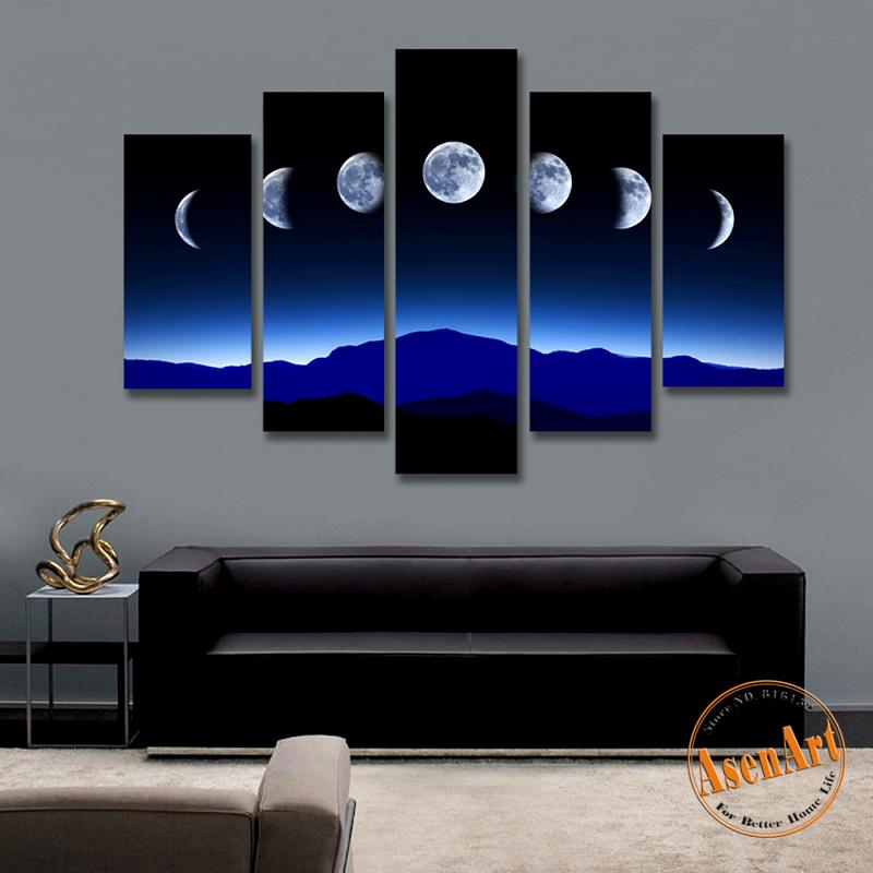 2018 5 Panel Dark Moon Picture Mountain Night Landscape Painting