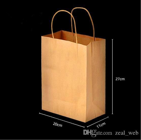 "8""x4.75""x10"" Brown Kraft Paper Bags Shopping Merchandise Bags Party Gift Craft Bags whole sale"