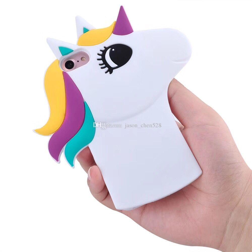 New 3D Cartoon colours White Horse Case Soft Silicon White Horse Cover for iPhone 5 6 6S 7 7SPlus 8G Rubber Case