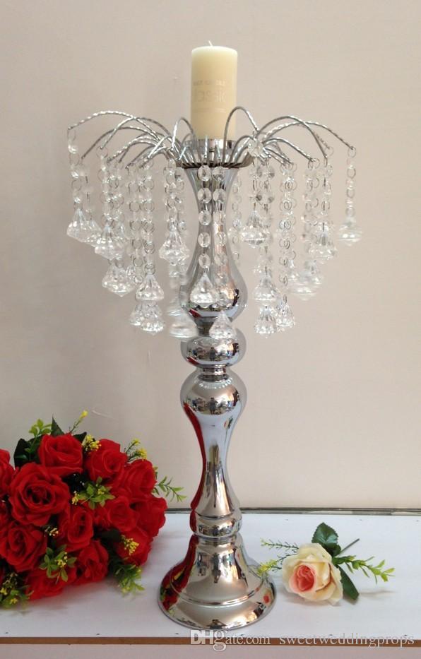 Metall versilbert Kerzenhalter mit Kristallen Hochzeit Kandelaber / Mittelstück Dekoration Kerzenhalter
