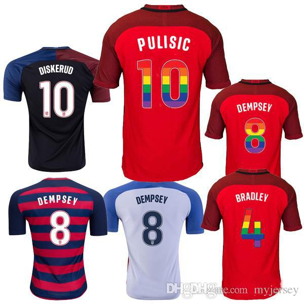 945df5f19 Thai Quality 2017 2018 USA Soccer Jerseys Third Red Rainbow Lettering  Football Shirt 17 18 PULISIC