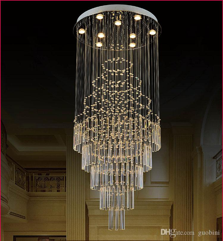 Attirant Creative Crystal Chandelier Large Living Duplex Villa Stairwell Long Led K9  Crystal Chandelier Lighting Fixtures Restaurant Hanging Lights That Plug In  ...