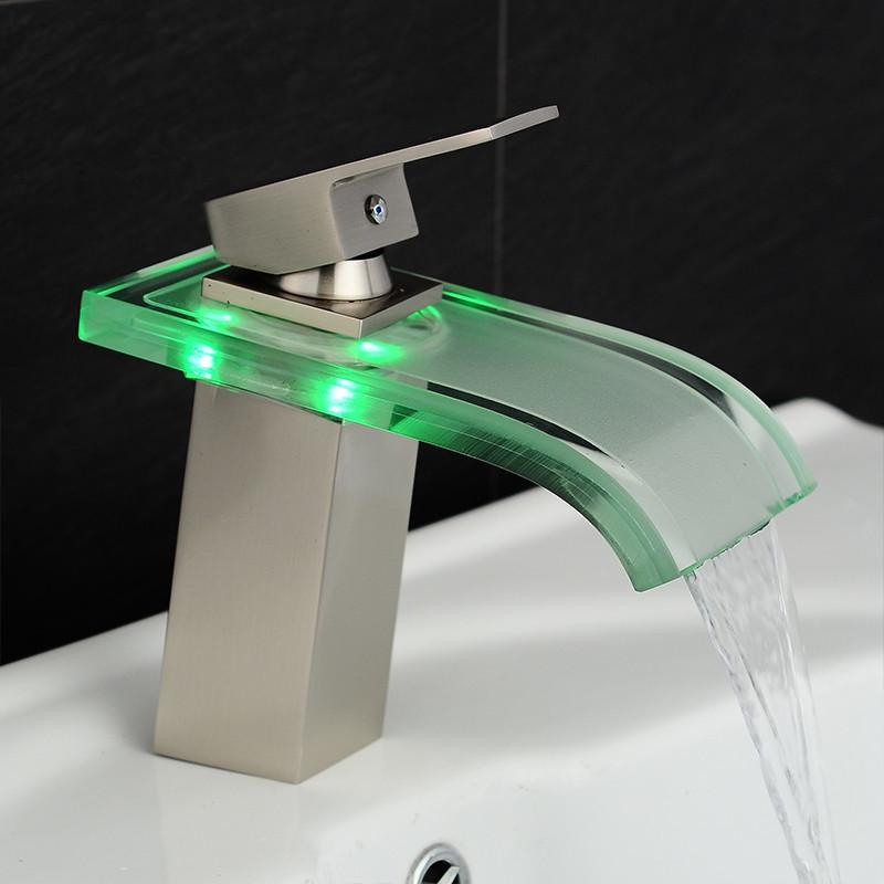2018 Basin Faucet Bathroom Waterfall Led Faucet Glass Waterfall ...