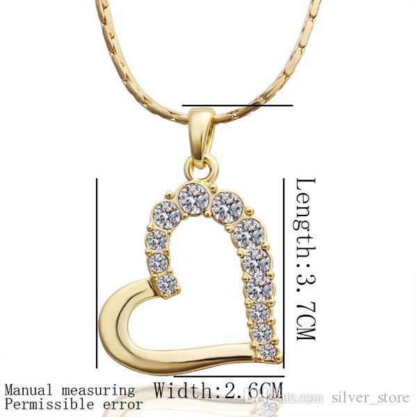 Kostenloser Versand Brand New 24k 18 Karat Gelbgold Herz Anhänger Halsketten Schmuck GN512 Mode Edelstein Kristall Halskette Weihnachtsgeschenk