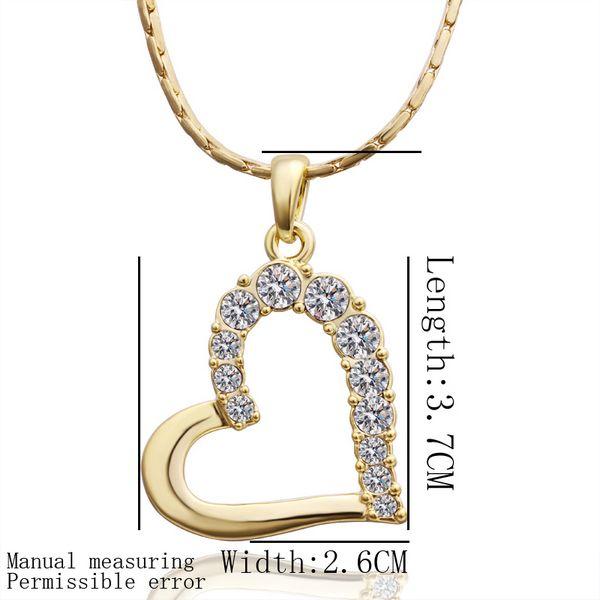 Livraison gratuite tout nouveau 24k 18k coeur en or jaune Pendentif bijoux Colliers GN512 collier en cristal de pierres précieuses de mode cadeau de Noël