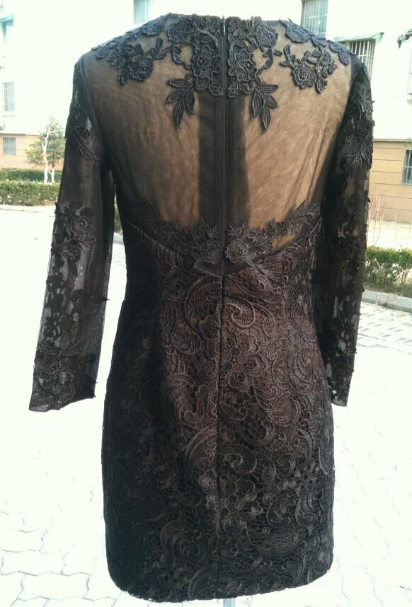 Jewel Neck Short Lace Evening Dress With Long Sleeves Black 2016 Knee Length Formal Dress Fast Shipping
