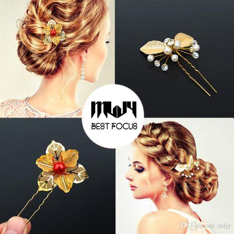 MLJY chapado en oro de la flor del pelo de cristal pernos de pelo de la boda joyería del pelo horquillas de mariposa tradiciones chinas regalo de la joyería del pelo