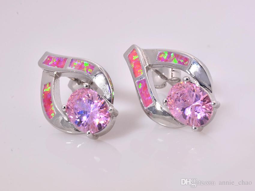 Großhandelseinzelhandel-Art- und Weiseblaue / rosafarbene feine Feuer-Opal-Ohrringe 925 versilbern Schmucksachen EMT16042609