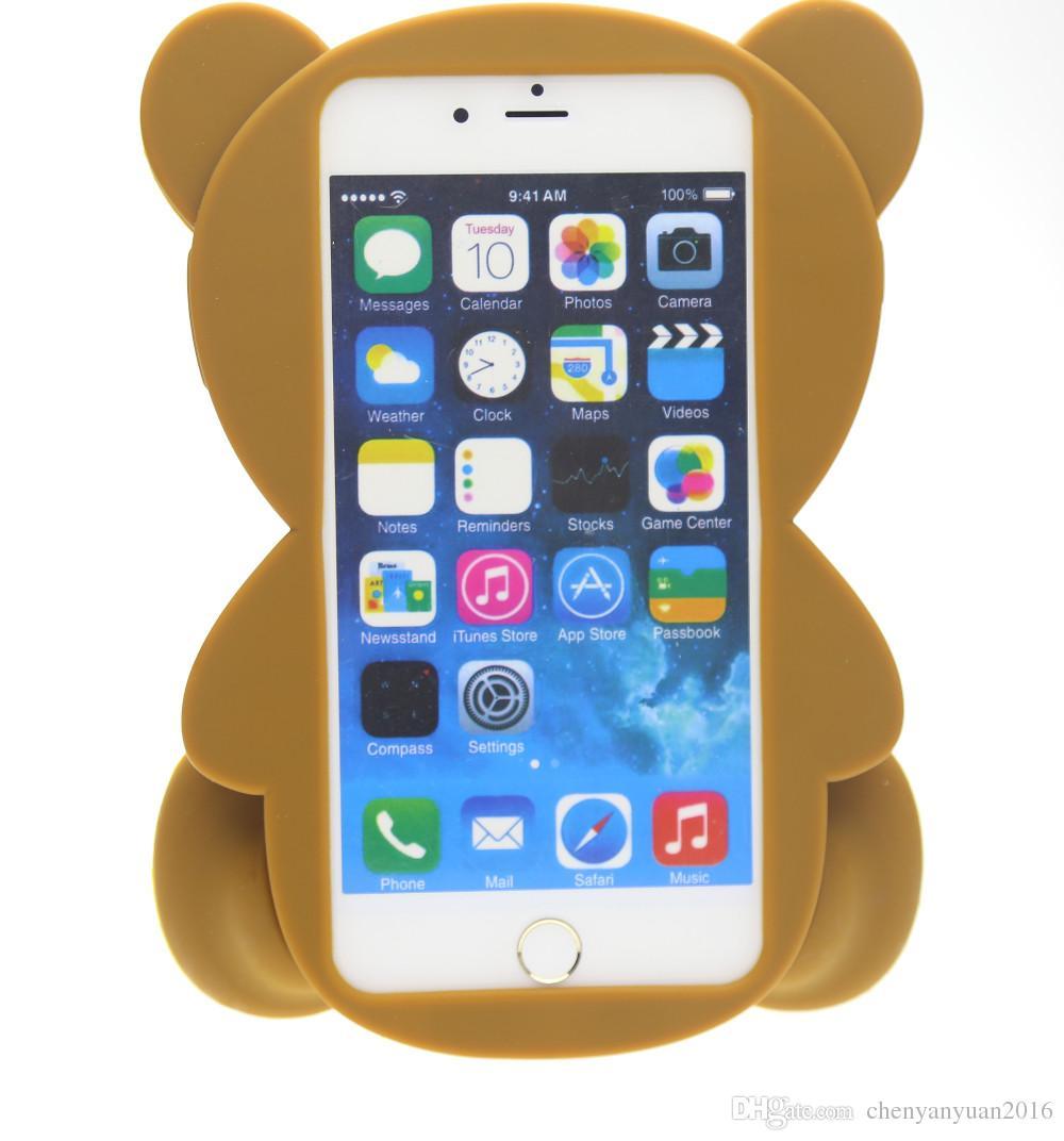 3d animais dos desenhos animados bonito brinquedo brown teddy bear silicone case para iphone 4s / 5 5s / se / 6/6 mais s3 / s4 / s5 / s6 / j5 / note3 / 4 / e5 / 7 / a5 / a7