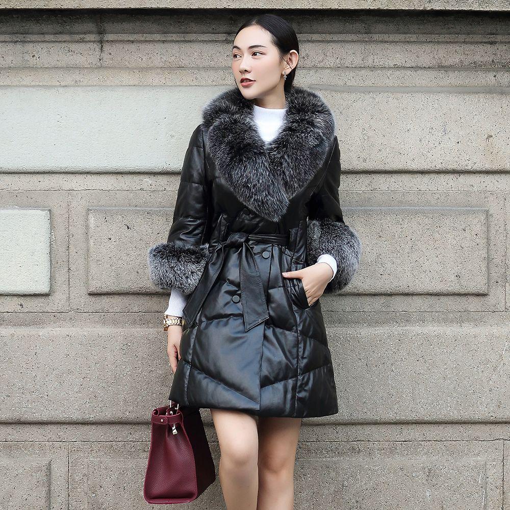 Women's natural fox fur collar fur cuff genuine sheepskin leather white duck down medium long sashes parka coat casacos