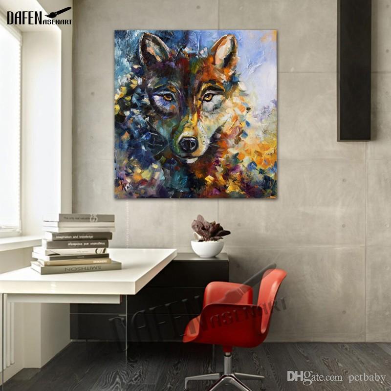 해피 늑대 100 % 손으로 만든 동물의 유화 캔버스에 재미있는 만화 그림 페인트 현대 벽 아트 홈 인테리어