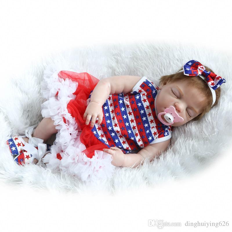 "22"" Lovely Christmas Gift Play Dolls Lifelike Collectible Girl Doll Reborn ANATOMICALLY CORRECT Full Vinyl Body Reborn Dolls"