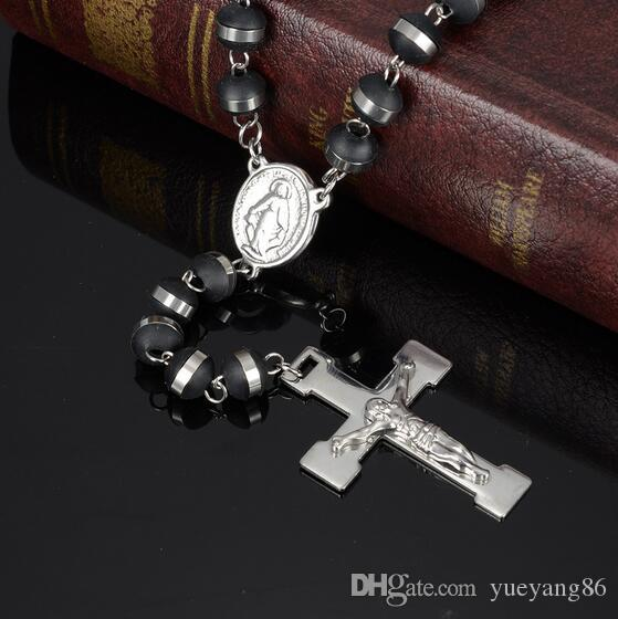 New Arrival Popular Style Black Silicone Rosary Necklace Silver 316L Stainless Steel Religous Beads Chain Crucifix Cross