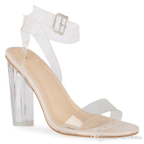 8ee4e47b9683 Compre 2016 Kim Kardashian Zapatos De Boda Nupcial PVC Tacones Cuadrados  Claros Hebilla De La Correa De Verano Estilo Ladies Party Shoes Más El  Tamaño Us4 ...