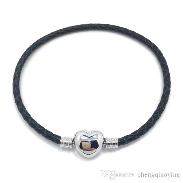 Brand new mix de alta qualidade 17 cores 100% platinadas fecho 100% pulseira de couro fit europeu moda jóias pulseira DIY