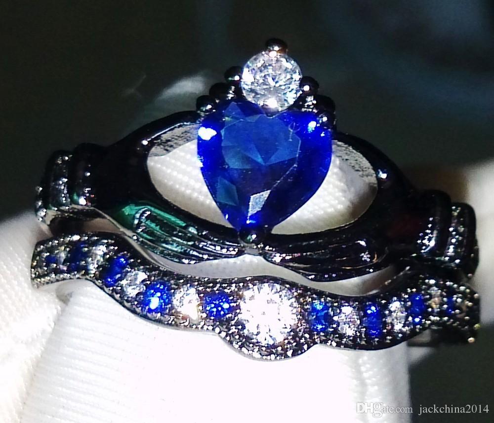 Livraison gratuite en gros coeur bijoux en argent 925 or noir cipé bleu saphir diamant CZ mariée Bague femme Taille 5-11
