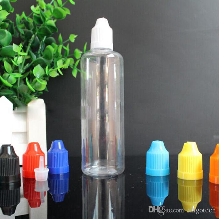 Tapas a prueba de niños de colores de 100 ml de líquido E botellas vacías botellas de plástico PET gotero con puntas de aguja fina larga de 100 ml Para eJuice Ecig vapor