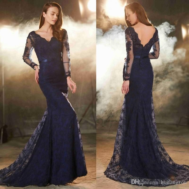 Evening Dresses China Style Long Sleeves Navy Blue Lace Applique V Neckline  Sexy Back Sweep Train Custom Made Formal Gowns Silver Evening Dress  Stunning ... 1ee51f1bfdea