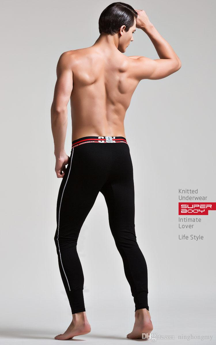 Sexy male thermal cotton long johns low-waist U Convex Stretch Skinny Tight Pants male fitness long thin leggings warm pants cotton thread