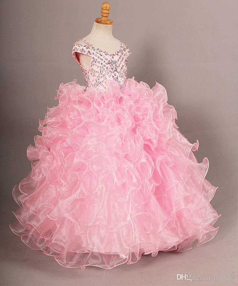 Superbe robe boule rose fille de fleurs robes de sol longueur filles robes de fête perles scintillantes paillettes lacets dos filles robe de reconstitution historique
