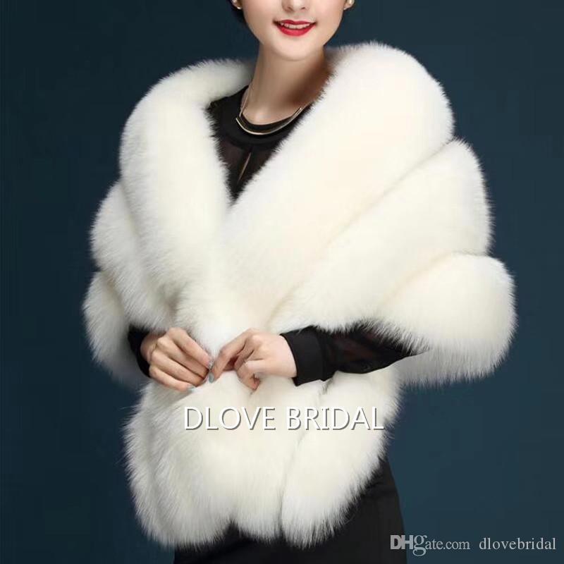최신 포켓 고품질 패션 특별 행사 저녁 파티 어깨 걸이 어깨를 으쓱 어깨 걸이 가을 겨울 웨딩 따뜻한 코트와 가짜 모피 신부 스카프