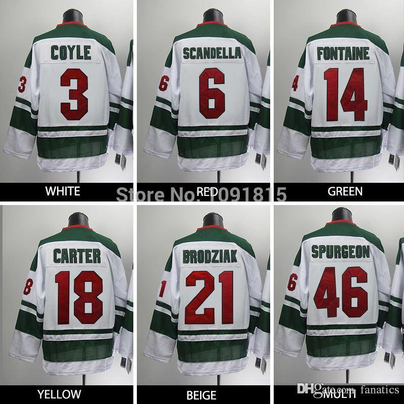 newest e67fb 23d21 2016 Wholesale Minnesota Wild Hockey Jerseys #3 Coyle Scandella Fontaine  Carter Brodziak Spurgeon Jersey Third Green White