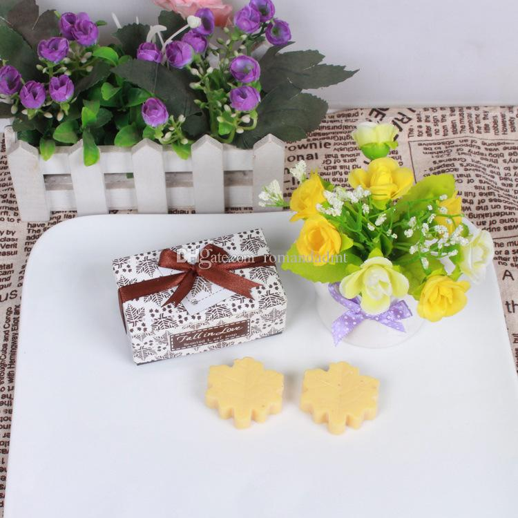 Maple Leaf Soap Fall in Love Scented Leaf Soap Wedding Baby Shower Favors Gifts /box DHL