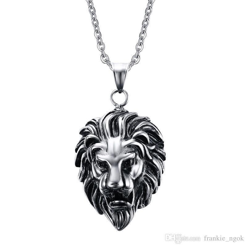 Gioielli da uomo in acciaio al titanio vintage punk casting faccia di leone pendente gioielli maschili