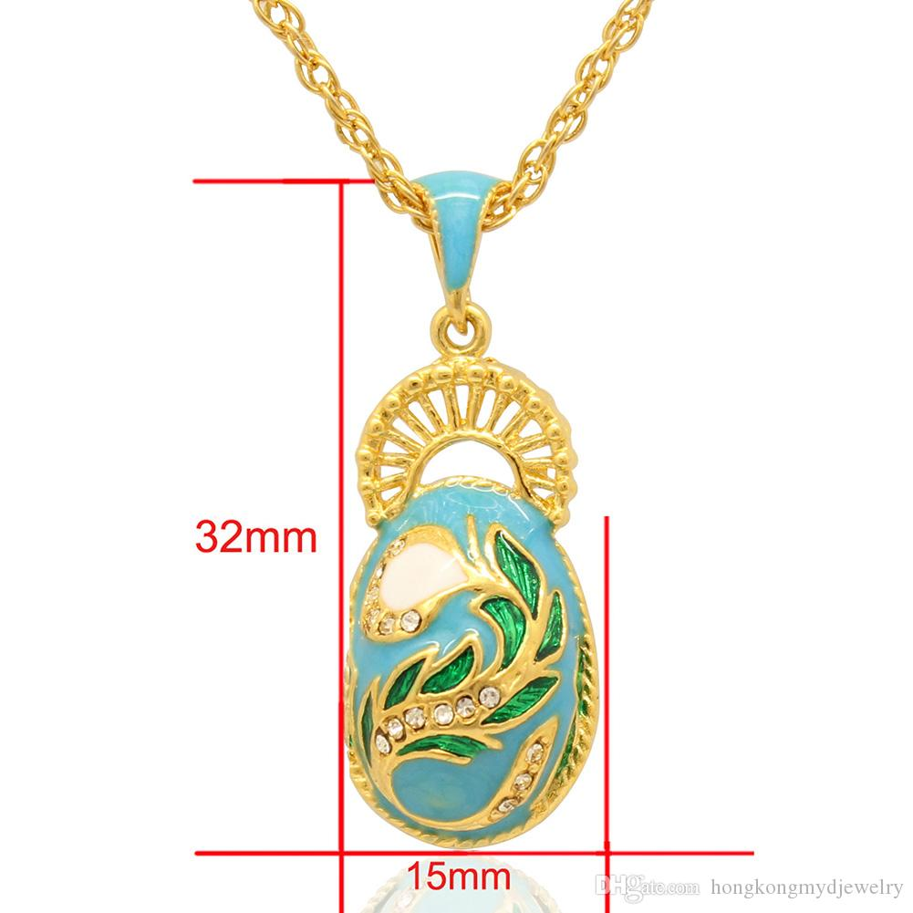 Elegant Peacock Tail Faberge Egg Charm hand color enamel Russian Style Egg Necklace for Easter Day