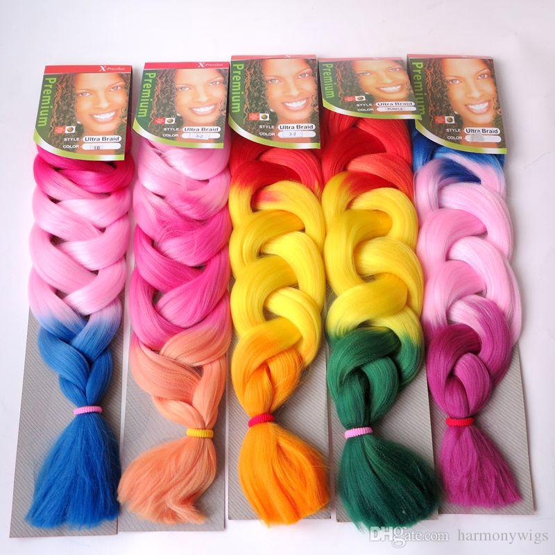 Xpression braiding hair synthetic Ombre hair 165g Folded 32inch Three tone color Kanekalon jumbo Crochet braids twist hair extensions