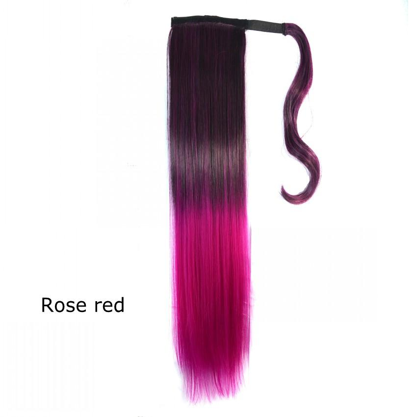 Sara Straight Ombre Color Ponytail Magic Stick Wrap-Around Ribbon Ponytails Hair Extension 55cm,22inch Synthetic Hair Pony Tail