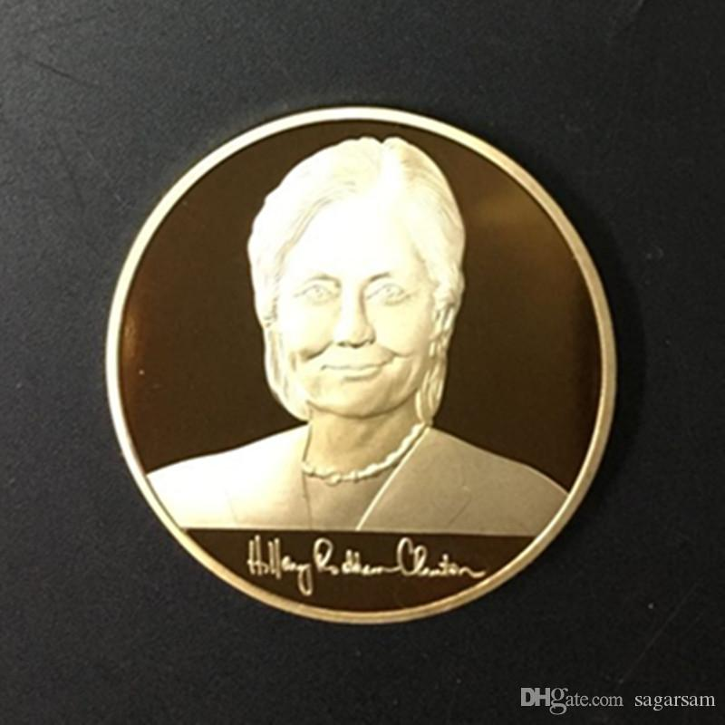 Hillary Clinton et Donald Trump, président des États-Unis, candidat à la médaille d'or en argent plaqué or 24 carats, pièce américaine tout neuf