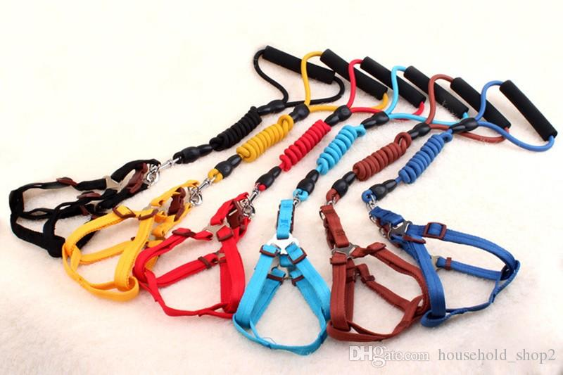 Nylon Dog Collar with 120cm Leash and Harness 120cm Leash Dog Supplies Sets Seven Colors Pet Products