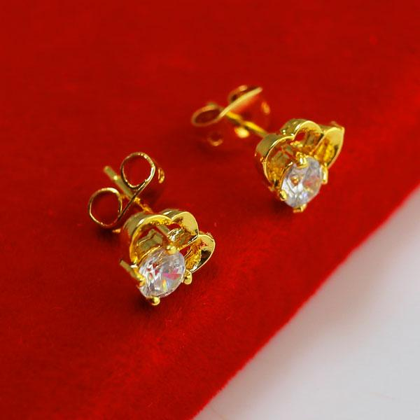 Do not fade hypoallergenic gold white crystal diamond earrings and super flash ear 24K gold-plated earrings jewelry