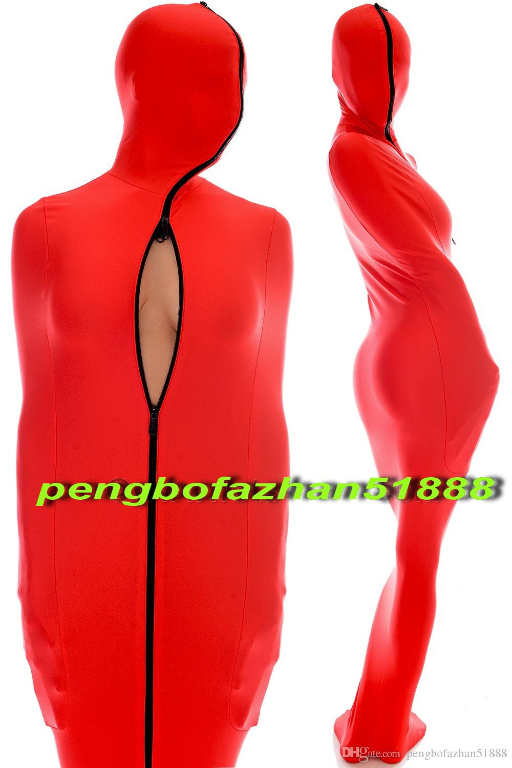 Red Lycra Spandex Mummy Suit Costumes With internal Arm Sleeves Unisex Sleeping Bag Unisex Mummy Costumes Outfit Halloween Cosplay Suit P018